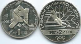 Bulgaria - 1987 - Winter Olympics - 1 Lev - Ice Hockey (KM175) & 2 Leva - Skiier (KM159) - Bulgarie