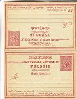 Turquie - Carte Postale Avec Carte Réponse De 1896 - Entiers Postaux - - Cartas