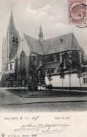 CPA   BELGIQUE---MALINES---EGLISE-ST-JEAN--1908-TAMPON VIOLET A.VERHEYEN AVOCAT C P C 1196--CARTO PHILATHELIQUE CLUB - Malines