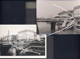 6. Charleroi 1944 Septembre. Combats. Pont De La Gare Sauté (une Repro Et Une Photo D'époque) - 1939-45
