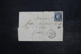 FRANCE - Lettre De Epernay Pour Reims En 1852 , Affranchissement Cérès 25ct , Cachet OR - L 27146 - Marcophilie (Lettres)