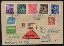 BOHEME & MORAVIE - KLADNO - III REICH / 1944 LETTRE RECOMMANDEE CONTRE REMBT POUR METZ (ref 7709c) - Bohême & Moravie
