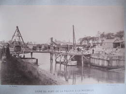 Grande Photo - COGNACQ & FILS - LIGNE DU PORT DE LA PALLICE A LA ROCHELLE - 3 Mai 1890 - PONT TOURNANT CANAL DE MARANS - Lieux