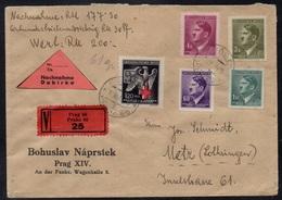 BOHEME & MORAVIE - PRAGUE - III REICH / 1943 LETTRE VALEUR DECLAREE CONTRE REMBT POUR METZ (ref 7709k) - Bohême & Moravie