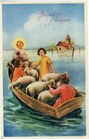 BUONA PASQUA   Il Salvatore  Pecorelle In Salvo Nella Barca  Chiesetta Alluvionata - Pasqua