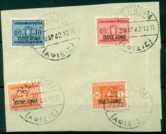 V7529 ITALIA OCCUPAZIONI ISOLE IONIE 1941 Segnatasse, Serie Completa Usata Su Foglietto Con Annullo Di Corfù (Kerkyra), - Isole Jonie