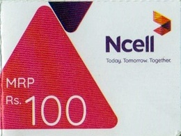 GSM MOBILE Rs.100 PHONE PREPAID USED MINI RECHARGE CARD NCELL MOBILE NEPAL - Nepal