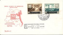 San Marino FDC Centenario Franco Bollo Postale Romagne 1859 - 1959, 29-8-1959 With Cachet - FDC