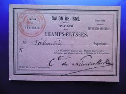AUTOGRAPHE LABOUCHERE PAUL ANTOINE ARTISTE PEINTRE SUR CARTE PALAIS DES CHAMPS ELYSEES SALON DE 1859 CACHET - Autographes