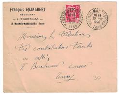 1950 - CACHET À TIRETS DE RECETTE DISTRIBUTION De LE MASNAU-MASSUGUIES (TARN) Sur LETTRE GANDON 15F ENTETE ENJALBERT - 1921-1960: Modern Tijdperk