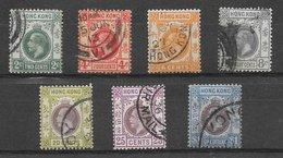 Hong Kong N°100 à 103, 106, 107, 110 (filigrane CA, Dentelé 14) 1912-1931 O - Oblitérés