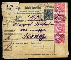 A6026) Ungarn Hungary Paketkarte Moson 25.07.18 Massenfrankatur M. 29 Marken - Ungarn