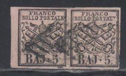 Etats Pontificaux 1852 Yvert 6 (o) B Oblitere(s) Paire - Etats Pontificaux