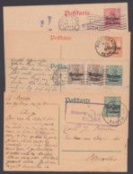 Belgien: 4 Versch. Ganzsachen,3x Reiner Bedarf Mit Zensur - Besetzungen 1914-18