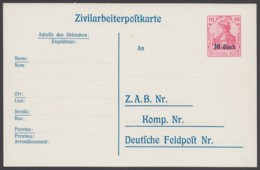 """Etappe West: P 9, """"Zivilarbeiterkarte"""", Ungebraucht - Ocupación 1914 – 18"""