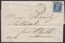 SEINE: Pli Avec 20c Empire Dentelé Oblt Etoile 33 + CàD PARIS GARE D'ORLEANS > AZILLE - 1849-1876: Période Classique