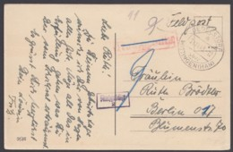 """Farb.AK """"Dedelsdorf über Wittingen, 13.11.43, Feldpost, Nachgebühr Gestrichen, Dann Doch Erhoben - Briefe U. Dokumente"""