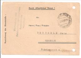Kortrijk 29.10.1943 Dienst:AUFFORDERUNG ZUM ERSCHEINEN BEI EINER DEUTSCHEN DIENSTSTELLE - Briefe U. Dokumente