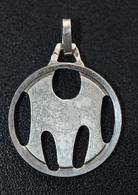 """Pendentif Médaille Argent 800 Poinçonné """"Lettre M"""" Sterling Medal - Pendentifs"""
