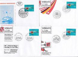 Schweiz Suisse 1993: WIBRA'93 & Euregio Bodensee (Hohentwiel) Zu 845 Mi 1501 Yv 1427 6 Belege Mit Div.Sonderstempel - Emissions Communes