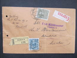 R-BRIEF Krakau 2 - Mähr. Ostrau 1915  Express Zensur   //  D*37387 - Briefe U. Dokumente
