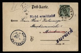 A6034) AD Württemberg Karte Stuttgart 05.06.01 N. München Unzustellbar Stempel - Wuerttemberg