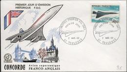 FDC192 - FRANCE PA 43 Premier Vol Concorde Sur FDC 1969 - FDC