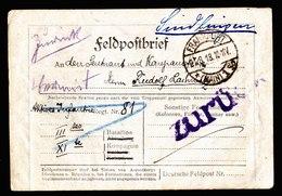 A6035) DR Feldpostkartenbrief Frankfurt 21.08.18 Mit Vermisst ZURÜCK - Deutschland