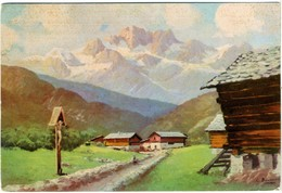 DOLOMITI  Panorama Alpino  Illustrata Acquerello  Capitello Con Cristo  Firmata - Illustratori & Fotografie