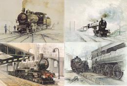 Lot De 23 Cp-trains /ill- Illustrateur L. Jovenaux-train / Zug /tren / Treno / - Trains