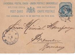INDE 1907   ENTIER POSTAL/GANZSACH/POSTAL STATIONERY CARTE POUR BREMEN - India (...-1947)
