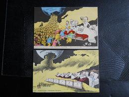 Politique ,satirique , Illustrée Par Bianco ,2 Cp Le Péril Jaune - Satiriques