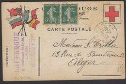 ALGERIE: CARTE FM CROIX ROUGE De ORAN Avec 5c Semeuse X2 Oblt CàD Type A4 ORAN R.P. > ALGERIE - Croix-Rouge