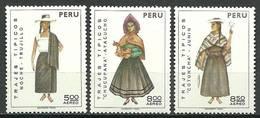 Peru 1973 Mi 936-938 MNH ( ZS3 PRU936-938dav106C ) - Costumes