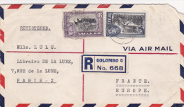 Colombo 1939 Registered Ceylon Sri Lanka - Cover Lettre Lettre Brief - Ceylan (...-1947)
