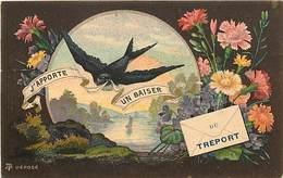 -dpts Div.-ref-AH410- Seine Maritime - Le Treport - Souvenir De .. - Hirondelle Et Fleurs - Carte Bon Etat - - Le Treport