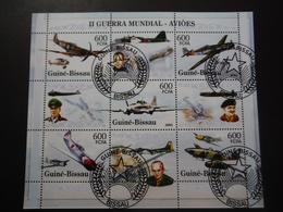 Guinée Bissau 2005 - 2e GM - Avions Militaires Et Personnages Hist.- Bloc De 9 - 2. Weltkrieg
