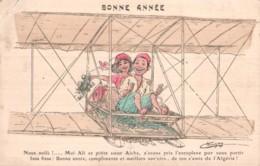 CARTE DE BONNE ANNEE ILLUSTRATION DE CHAGNY ALI ET AICHA SUR L'ZOROPLANE CIRCULEE 1910 - Chagny
