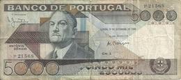 PORTUGAL 5000 ESCUDOS 1980 VF P 182 A - Portugal