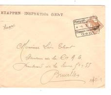 SJ97/ TP Oc 30 S/L.Etappen Inspektion Gent 1917 Postprüfungstelle écrit De Hamme Van Goutem Frères V.BXL - WW I