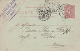 """La Ferté Macé  - Cachet Entreprise  """"PILATRIE FILS  """" Sur  Entier Postal - Scan Recto-verso - Enteros Postales"""