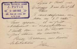"Lyon - Cachet Magasin ""J.  PATIN  49 Rue De Seze  "" Sur  Entier Postal - Scan Recto-verso - Enteros Postales"