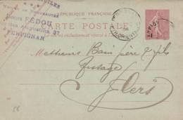 """Perpignan  -cachet Magasin """" AUX TROIS ETOILES   Louis Fidou  """" Sur  Entier Postal - Scan Recto-verso - Postales Tipos Y (antes De 1995)"""