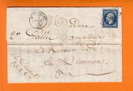 Ensemble  Lettre De HENNEBONT Morbihan PC 1506 Aout 1856  Timbre Napoleon III   +  1 CPA Abbaye De La Joie 1915 - 1853-1860 Napoléon III