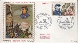 FDC 206 - FRANCE N° 1660 Centenaire Du Siège De Belfort Sur FDC 1970 - FDC