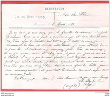 MEMORANDUM Louis Declercq à MEVERGNIES 11 III 1882 - Documents Historiques