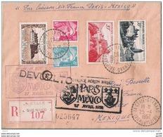 """L Recommandée  De LA CELLE GUENAND Indre Et Loire  """"par Liaison AIR FRANCE Paris - Mexico"""" 27 Avril 52 DEVUELTO - 1927-1959 Covers & Documents"""