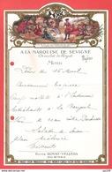 Ancien Menu A LA MArQUISE DE SEVIGNE Ill Louis XIV Forêt Fontanebleau Pub. Eau ROYAT VELLEDA - Menus