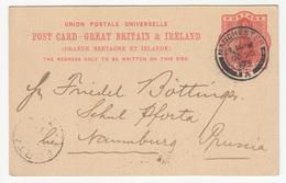 Great Britain & Ireland, UPU Postal Stationery Postcard Travelled 1895 Manchester To Pforta B190401 - Luftpost & Aerogramme
