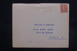 FRANCE - Type Semeuse Perforé BP Sur Enveloppe Pour Paris ( Banque Privée ) - L 27256 - Perforés